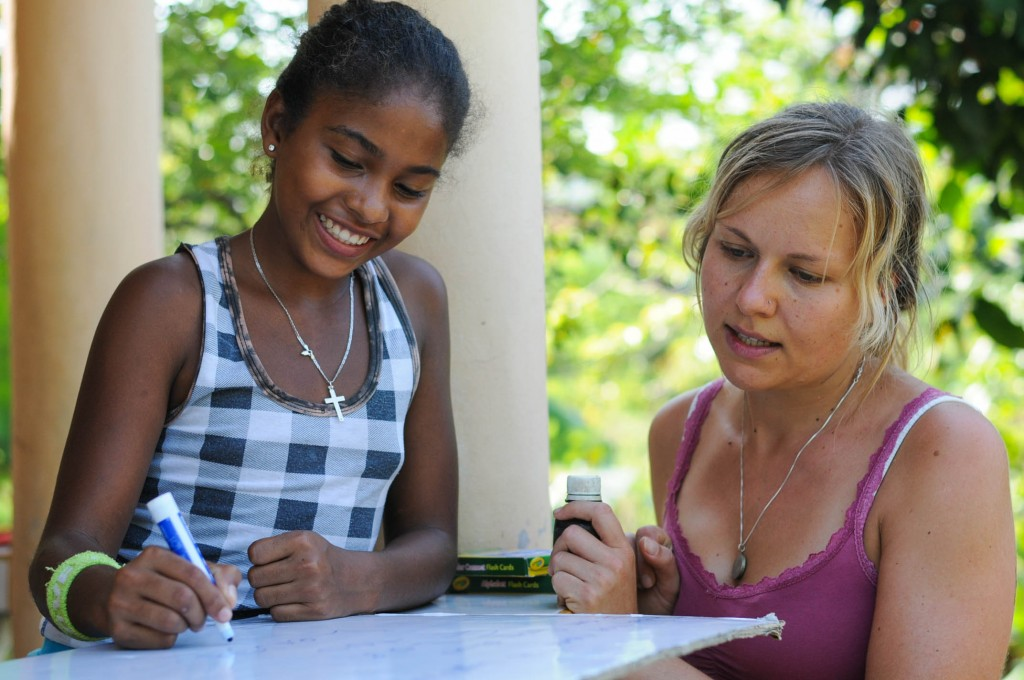 Karin Gartnerova with one of her english students at a lesson in Los Brazos.