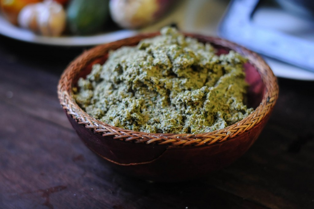 A bowl full of delicious and nutritious pesto.