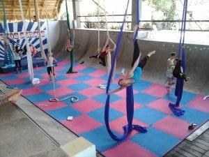 Sweet Retreats circus camp practicing at Kaiceitos Circus at the Extreme Hotel