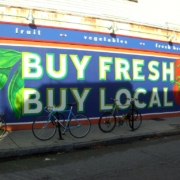 buy fresh and buy local sign promotes local businesses